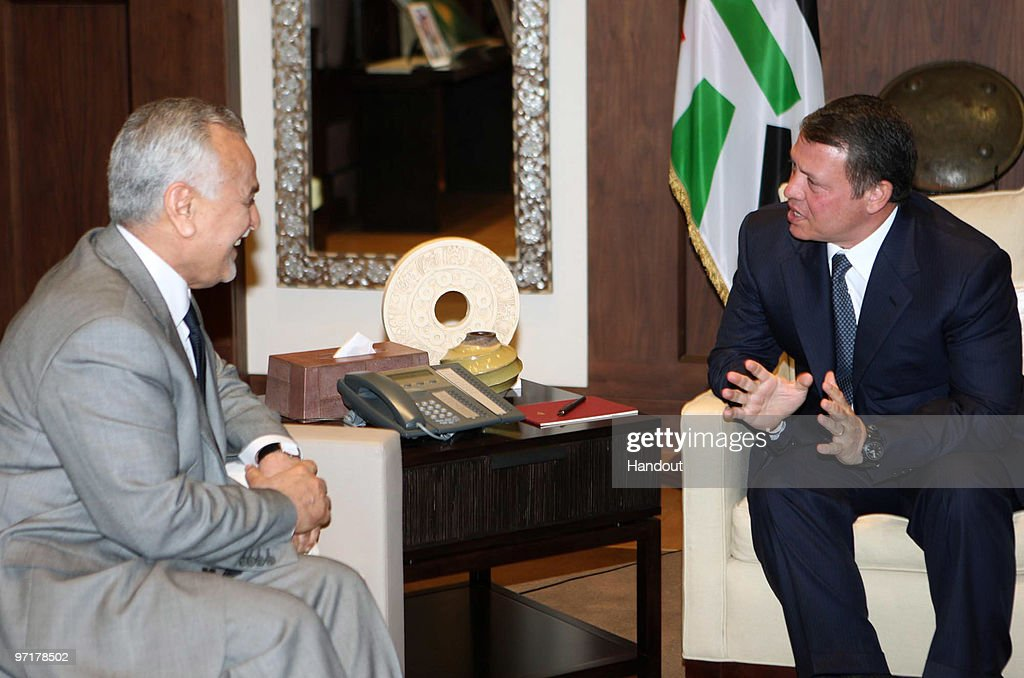 In this handout photo provided by the Jordanian Royal Court, Iraqi Vice President Tareq al-Hashemi (L) meets with <a gi-track='captionPersonalityLinkClicked' href=/galleries/search?phrase=King+Abdullah+II+of+Jordan&family=editorial&specificpeople=171586 ng-click='$event.stopPropagation()'>King Abdullah II of Jordan</a> on February 28, 2010 in Amman, Jordan.