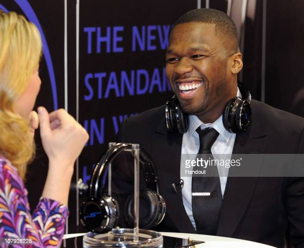 In this handout photo provided by the Las Vegas News Bureau rapper Curtis '50 Cent' Jackson arrives to debut his new Sleek by 50 Cent Platinum...