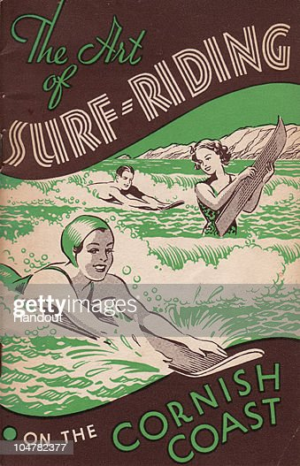 In this handout photo provided by the Museum of British Surfing, The book cover of the 1934 'The art of surf riding' is believed to be the first 'surf book' published in Britain telling people how and where to surf and held by the Museum Of British Surfing is seen on October 4, 2010 in Braunton, England. The Museum of British Surfing, a charity which originally started online, has been touring the UK since 2004 and is Europe's first surf museum. It holds the largest surfboard collection in Britain and has secured funding for a permanent home, which will open in Braunton next summer. As well as the collection of surfboards dating back over 100 years, the museum also holds early wetsuits, photos and other memorabilia relating to the phenomenal growth in the popularity of surfing. Although many people assume surfing in the UK began in the 1960s, the museum contains evidence that show that it was in fact already a mass participant activity on British beaches by the end of the First World War. Surfing is now a multi-million pound industry and employs 1000s of people in the UK. (Photo from the collection of the Museum of British Surfing - www.museumofbritishsurfing.org.uk via Getty Images) For use with Surf Museum feature only. Mandatory credit should read 'From the collection of the Museum of British Surfing - www.museumofbritishsurfing.org.uk'