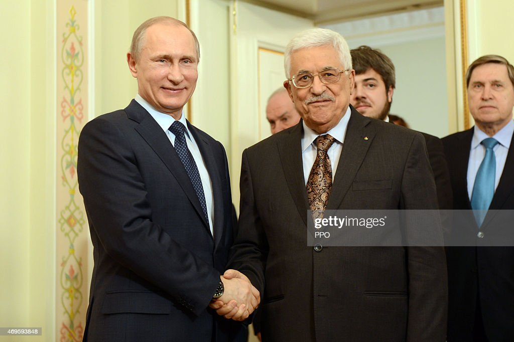 In this handout photo provided by the Palestinian Press Office (PPO), Palestinian President Mahmoud Abbas (L) and Russian President Vladimir Putin (R) hold a meeting on April 13, 2015 in Moscow, Russia.