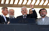 In this handout photo provided by the PPO Palestinian President Mahmoud Abbas delivers a speech to released prisoners and their friends and relatives...