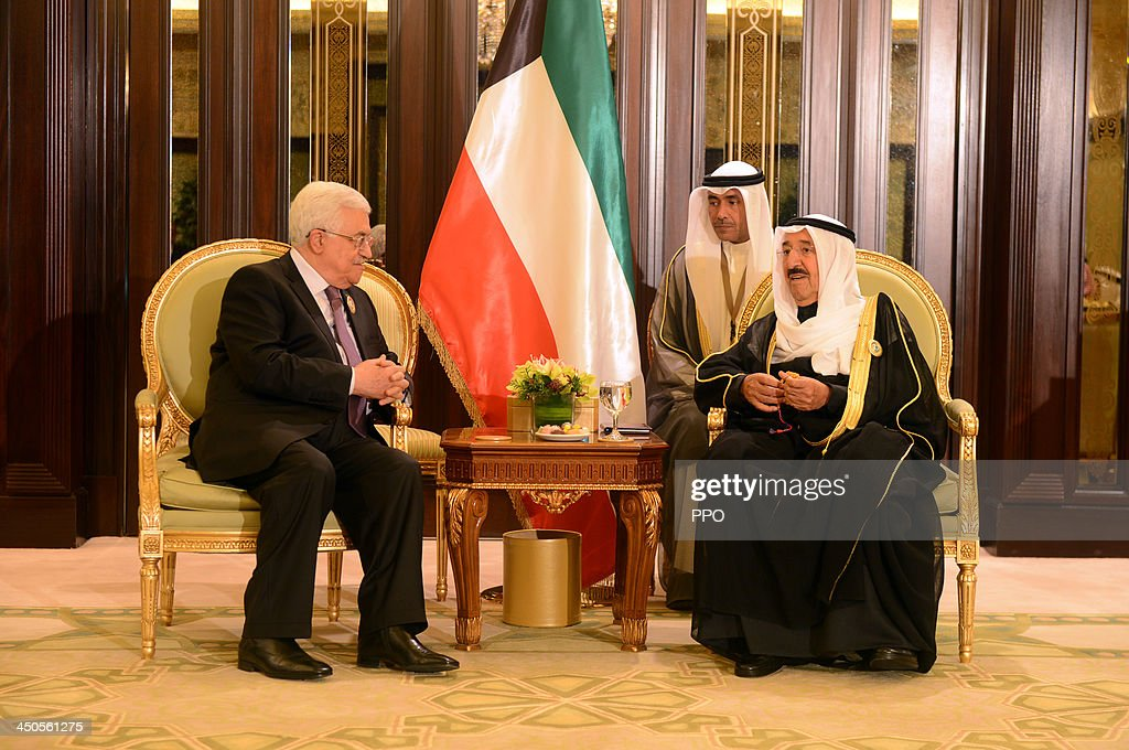 In this handout photo provided by the PPO, Palestinian President <a gi-track='captionPersonalityLinkClicked' href=/galleries/search?phrase=Mahmoud+Abbas&family=editorial&specificpeople=176534 ng-click='$event.stopPropagation()'>Mahmoud Abbas</a> (L) meets with Emir of Kuwait <a gi-track='captionPersonalityLinkClicked' href=/galleries/search?phrase=Sabah+Al-Ahmad+Al-Jaber+Al-Sabah&family=editorial&specificpeople=5573991 ng-click='$event.stopPropagation()'>Sabah Al-Ahmad Al-Jaber Al-Sabah</a> during the Arab-African Summit November 19, 2013 in Kuwait City, Kuwait. Leaders gathered for the two-day summit to discuss economic ties between Africa and the Gulf.
