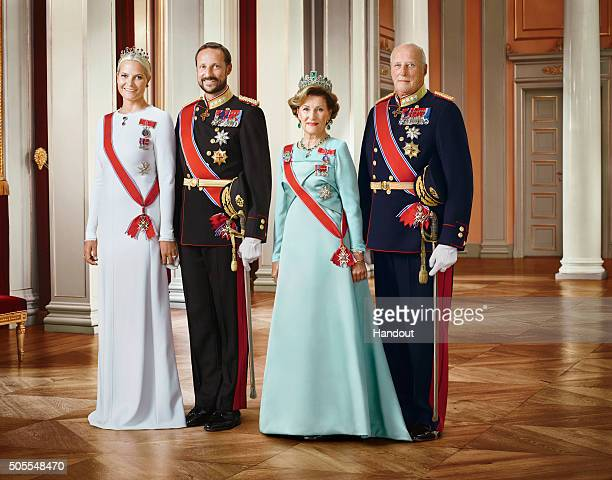 In this handout photo provided by the Royal Court Princess MetteMarit of Norway Crown Prince Haakon of Norway Queen Sonja of Norway and King Harald V...