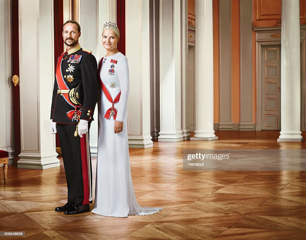 In this handout photo provided by the Royal Court, Princess Mette-Marit of Norway and Crown Prince Haakon of Norway pose for an official photograph from the Royal Court on January 15, 2016 in Oslo, Norway.