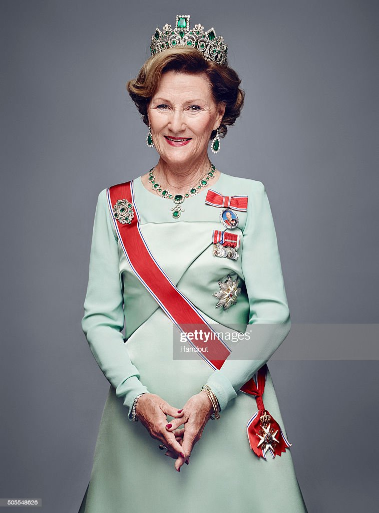 In this handout photo provided by the Royal Court, Queen Sonja of Norway poses for an official photograph from the Royal Court on January 15, 2016 in Oslo, Norway.