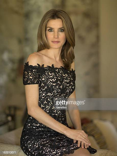 In this handout photo provided by the Royal Press Department Princess Letizia of Spain poses at Zarzuela Palace on September 15 2012 in Madrid Spain...