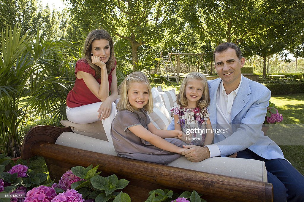 In this handout photo provided by the Royal Press Department, Princess <a gi-track='captionPersonalityLinkClicked' href=/galleries/search?phrase=Letizia+of+Spain&family=editorial&specificpeople=158373 ng-click='$event.stopPropagation()'>Letizia of Spain</a>, Prince Felipe of Spain and their children, Princesses <a gi-track='captionPersonalityLinkClicked' href=/galleries/search?phrase=Leonor+-+Princess+of+Asturias&family=editorial&specificpeople=6328965 ng-click='$event.stopPropagation()'>Leonor</a> and Sofia pose at Zarzuela Palace on September 15, 2012 in Madrid, Spain. Princess <a gi-track='captionPersonalityLinkClicked' href=/galleries/search?phrase=Letizia+of+Spain&family=editorial&specificpeople=158373 ng-click='$event.stopPropagation()'>Letizia of Spain</a> celebrates her 40th birthday today.