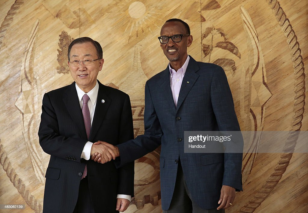 In this handout photo provided by the United Nations, Rwandan President <a gi-track='captionPersonalityLinkClicked' href=/galleries/search?phrase=Paul+Kagame&family=editorial&specificpeople=601832 ng-click='$event.stopPropagation()'>Paul Kagame</a> meets with United Nations Secretary General Ban Ki-moon (L) at the president's office on April 6, 2014 in Urugwiro Village, Kigali, Rwanda. Rwanda is preparing to commemorate the 20th anniversary of the country's 1994 genocide, when more than 800,000 ethnic Tutsi and moderate Hutus were slaughtered over a 100 day period