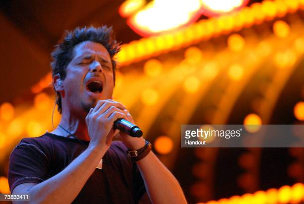 In this handout photo provided by the Vegas Grand Prix singer Chris Cornell performs at Vegas Grand PrixFriday Night Street Party on April 6 2007 in...