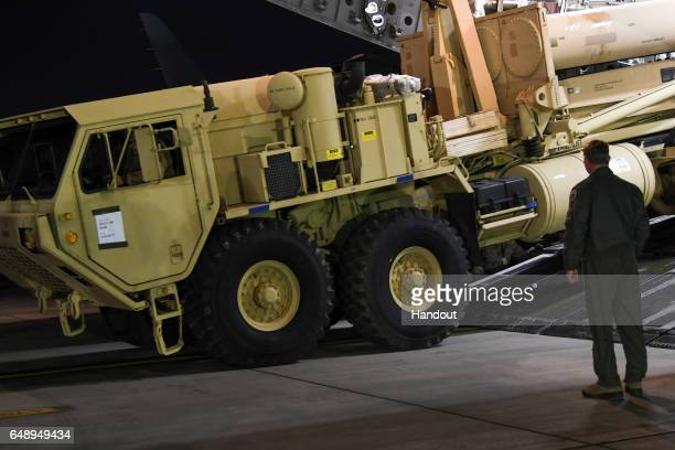In this handout photo provided by US Forces Korea a truck is seen carrying parts required to set up the Terminal High Altitude Area Defense missile...