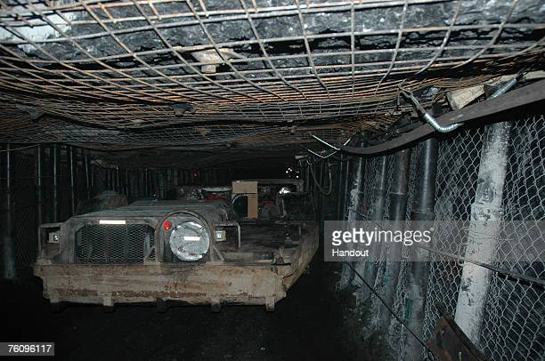 In this handout photo provided by UtahAmerican Energy Inc a ram car is seen moving through a mine shaft at the Crandall Canyon coal mine August 14...