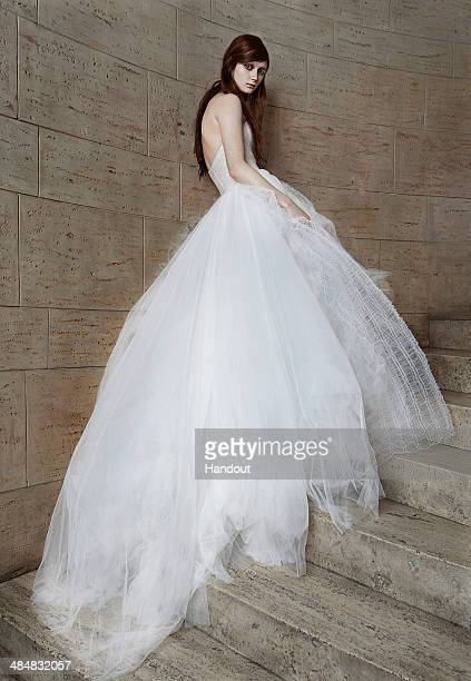 In this handout photo provided by Vera Wang a model poses wearing Vera Wang during the Spring 2015 Bridal Collection April 7 2014 in New York City