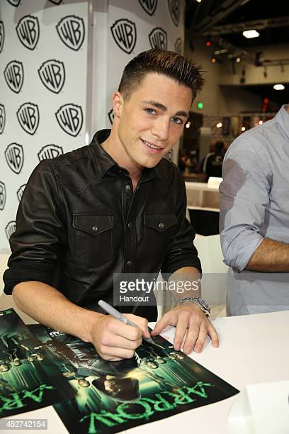 In this handout photo provided by Warner Bros Colton Haynes of 'Arrow' attends ComicCon International 2014 on July 26 2014 in San Diego California