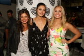 In this handout photo provided by Warner Bros Danielle Campbell Phoebe Tonkin and Leah Pipes of 'The Originals' attend ComicCon International 2014 on...