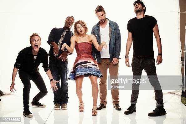 In this handout photo provided by Warner Bros David Anders Malcolm Goodwin Rose McIver Robert Buckley and Rahul Kohli of 'iZombie' attend ComicCon...
