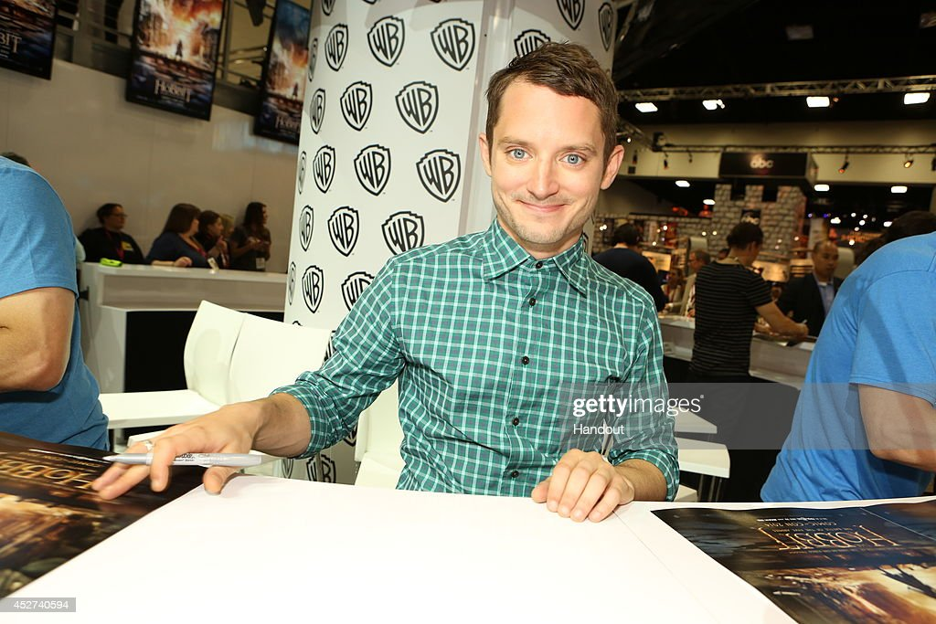 In this handout photo provided by Warner Bros Elijah Wood of 'The Hobbit The Battle of the Five Armies' attends ComicCon International 2014 on July...