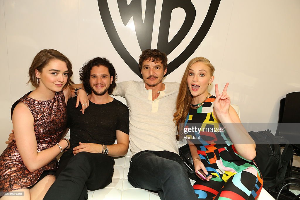 In this handout photo provided by Warner Bros Maisie Williams Kit Harington Pedro Pascal and Sophie Turner of 'Game of Thrones' attend ComicCon...