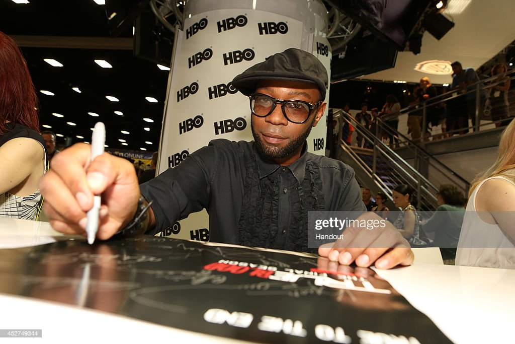 in this handout photo provided by Warner Bros Nelsan Ellis of 'True Blood' attends ComicCon International 2014 on July 26 2014 in San Diego California