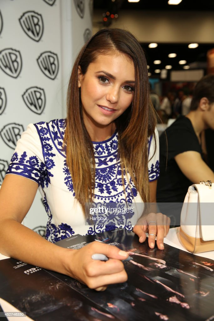 In this handout photo provided by Warner Bros Nina Dobrev of 'The Vampire Diaries' attends ComicCon International 2014 on July 26 2014 in San Diego...