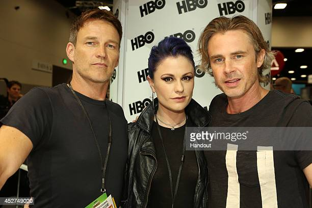 in this handout photo provided by Warner Bros Stephen Moyer Anna Paquin and Sam Trammell of 'True Blood' attend ComicCon International 2014 on July...