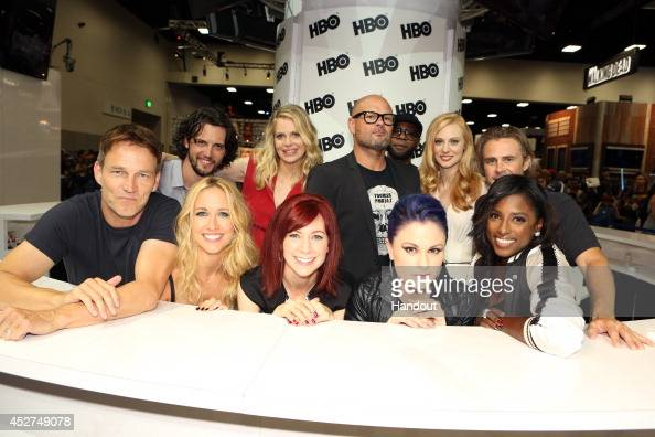 in this handout photo provided by Warner Bros Stephen Moyer Anna Camp Carrie Preston Anna Paquin and Rutina Wesley Nathan Parsons Kristin Bauer van...