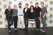 In this handout photo provided by WBTV Backstage after The Following panel session Marcos Siega Valorie Curry James Purefoy Kevin Bacon moderator...