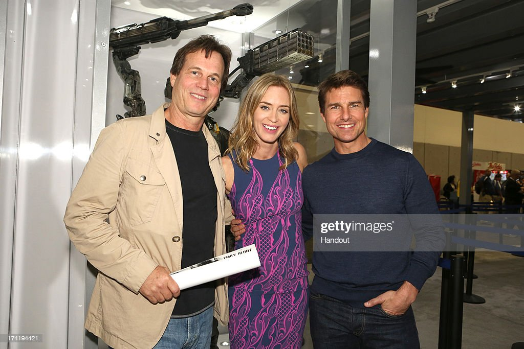 In this handout photo provided by WBTV, 'Edge of Tomorrow' stars (L-R) Bill Paxton, Emily Blunt and Tom Cruise at the Warner Bros. booth during Comic-Con 2013 on July 20, 2013 in San Diego, California.