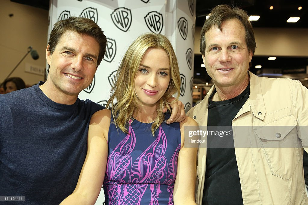 In this handout photo provided by WBTV, 'Edge of Tomorrow' stars (L-R) Tom Cruise, Emily Blunt and Bill Paxton at the Warner Bros. booth during Comic-Con 2013 on July 20, 2013 in San Diego, California.