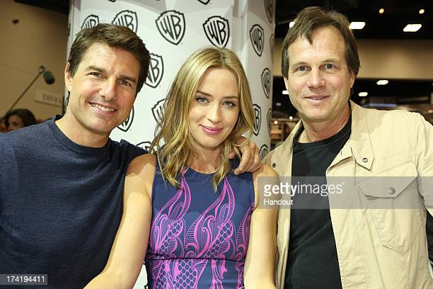 In this handout photo provided by WBTV 'Edge of Tomorrow' stars Tom Cruise Emily Blunt and Bill Paxton at the Warner Bros booth during ComicCon 2013...