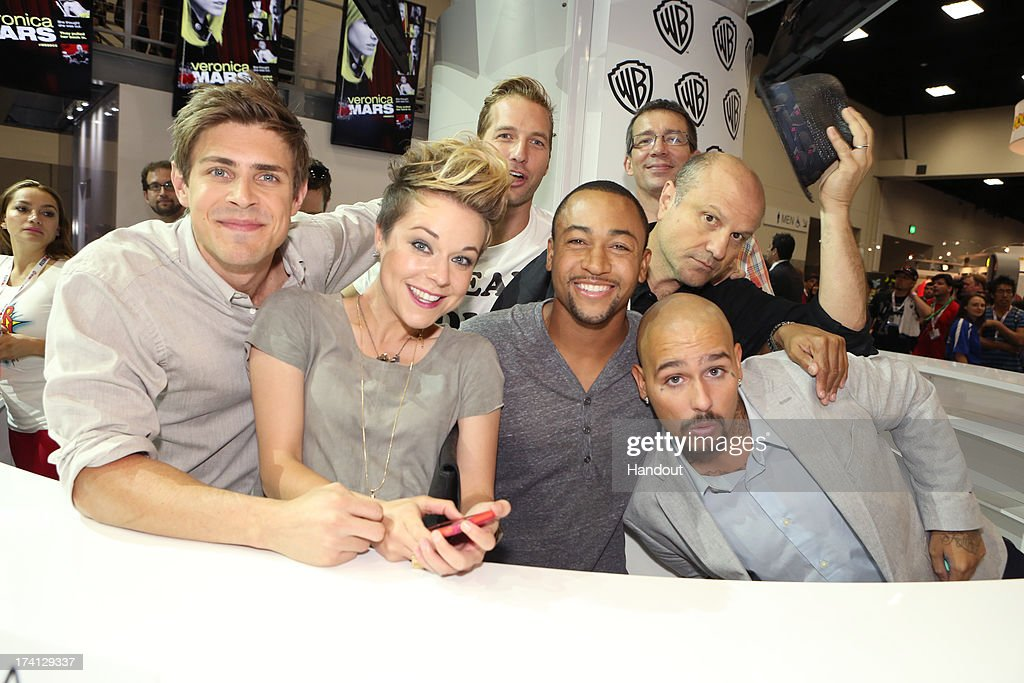 In this handout photo provided by WBTV Veronica Mars actors Chris Lowell Tina Majorino Ryan Hansen Percy Daggs III Francis Capra and Enrico Colantoni...