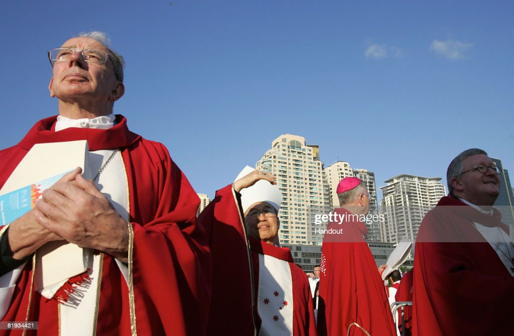 In this handout photo provided by World Youth Day, Bishops arrive for the Opening Mass of Welcome of World Youth Day Sydney 2008 at Barangaroo on July 15, 2008 in Sydney, Australia. Organised every two to three years by the Catholic Church, World Youth Day (WYD) is an invitation from the Pope to the youth of the world to celebrate their faith. The celebration, being held in Sydney from July 15, 2008 to July 20, 2008, will mark the first visit of His Holiness Pope Benedict XVI to Australia.