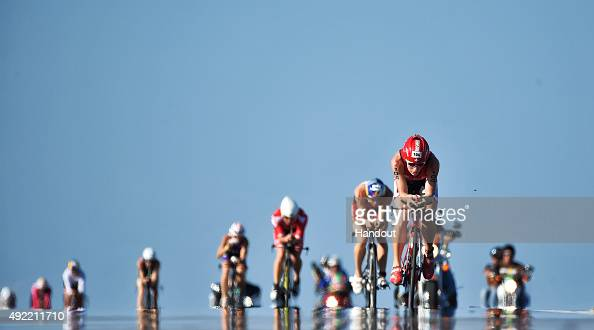 In this handout photograph provided by Ironman Athletes compete in the 112mile bicycle rides during the IRONMAN World Championship presented by GoPro...