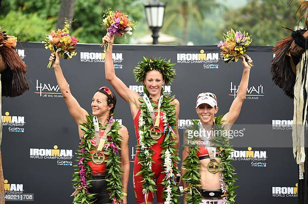 In this handout photograph provided by Ironman Womens podium at the 2015 IRONMAN World Championship presented by GoPro on October 10th 2015 in...