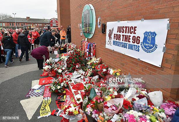 In this handout photograph provided by Liverpool FC Anfield Memorial during the memorial service marking the 25th anniversary of the Hillsborough...