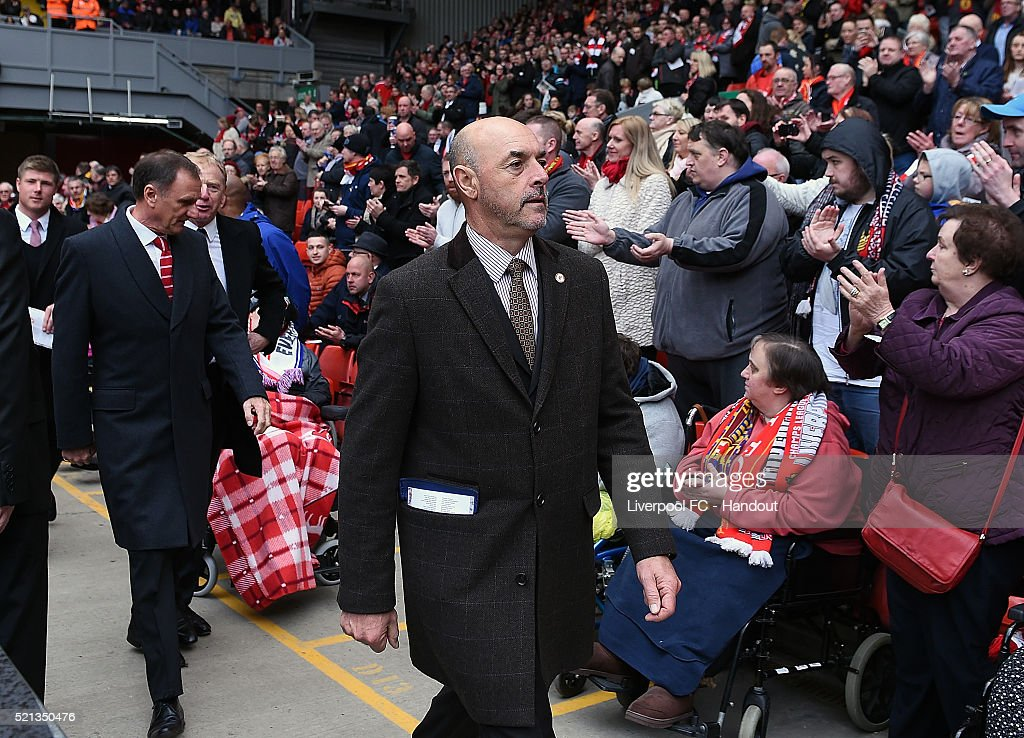 In this handout photograph provided by Liverpool FC, Bruce Grobbelaar arrives before the memorial service marking the 25th anniversary of the Hillsborough Disaster, at Anfield Stadium on April 15, 2016 in Liverpool, England. Thousands of fans, friends and relatives are attending the service at Liverpool's Anfield Stadium to mark the 25th anniversary of the Hillsborough tragedy. 96 Liverpool supporters lost their lives during a crush at an FA Cup semi final against Nottingham Forest at the Hillsborough football ground in Sheffield, South Yorkshire in 1989.