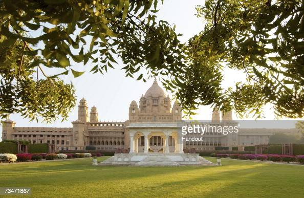 In this handout photograph provided by Taj Hotel Resorts and Palaces a general view of the Umaid Bhawan Palace where the Indian wedding of Liz Hurley...