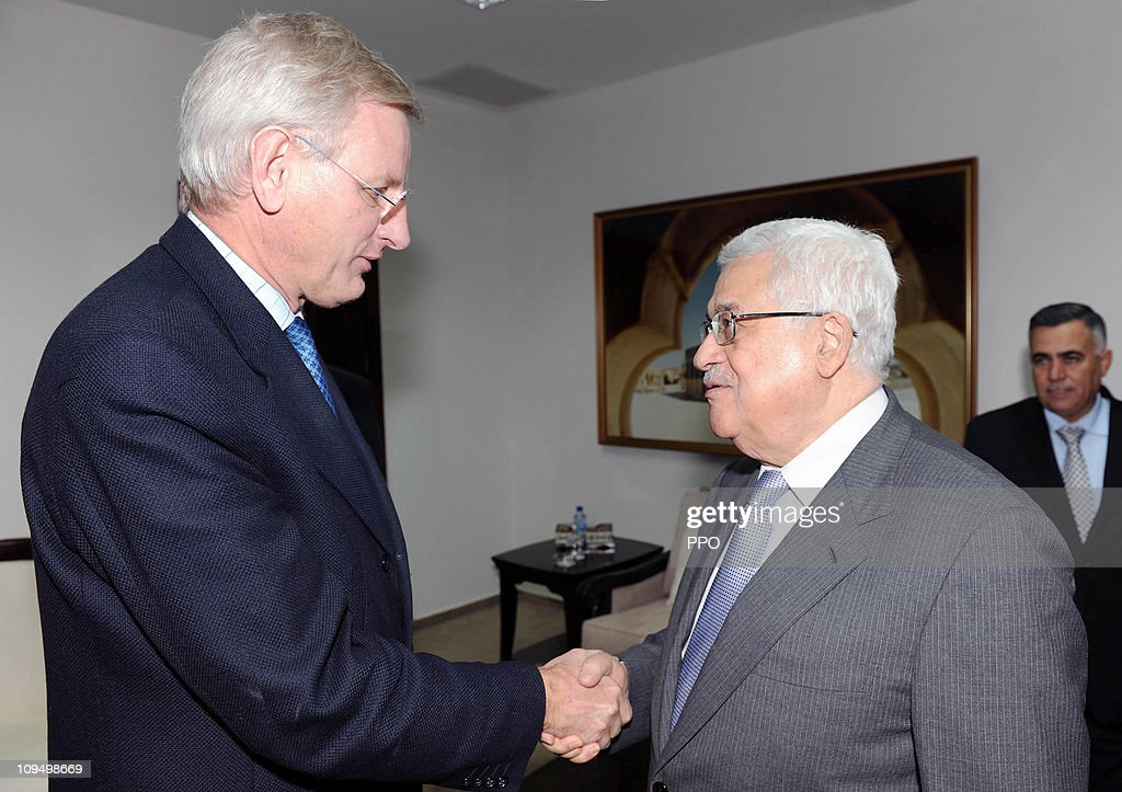 In this handout photograph provided by the Palestinian Press Office (PPO), Palestinian President <a gi-track='captionPersonalityLinkClicked' href=/galleries/search?phrase=Mahmoud+Abbas&family=editorial&specificpeople=176534 ng-click='$event.stopPropagation()'>Mahmoud Abbas</a> (R) shakes hands with Sweden's Minister of Foreign Affairs <a gi-track='captionPersonalityLinkClicked' href=/galleries/search?phrase=Carl+Bildt&family=editorial&specificpeople=3972090 ng-click='$event.stopPropagation()'>Carl Bildt</a> as they meet on February 28, 2011 in Ramallah, West Bank. Bildt met with Abbas following talks the previous day with the Jordanian King, Prime Minister and Foreign Minister, which focused on European efforts to revive peace talks between Israel and the Palestinians.