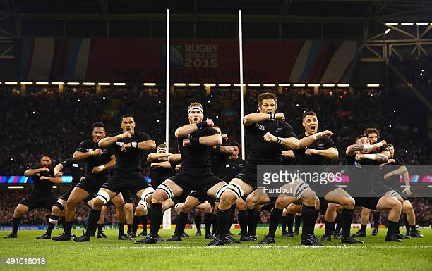 In this handout photograph provided by World Rugby Richie McCaw of the New Zealand All Blacks leads the Haka during the 2015 Rugby World Cup Pool C...