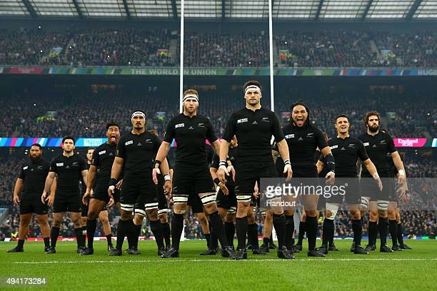 In this handout photograph provided by World Rugby The New Zealand All Blacks prepare to perfrom the Haka during the 2015 Rugby World Cup Semi Final...