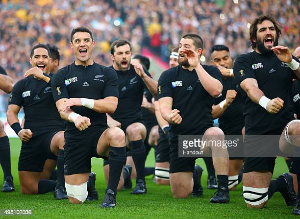 In this handout photograph provided by World Rugby Dan Carter of the New Zealand All Blacks performs The Haka during the 2015 Rugby World Cup Final...