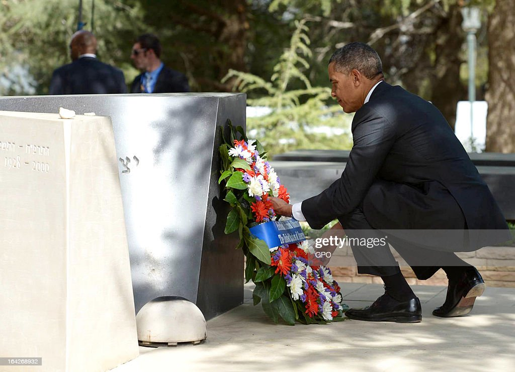 In this handout photograph supplied by the Government Press Office of Israel (GPO), U.S. President Barack Obama lays a wreath at the grave of former Israeli Prime Minister Yitzhak Rabin during a visit to Mount Herzl on March 22, 2013 in Jerusalem, Israel. This is Obama's first visit as president to the region and his itinerary includes meetings with the Palestinian and Israeli leaders as well as a visit to the Church of the Nativity in Bethlehem.