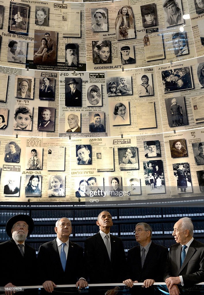 In this handout photograph supplied by the Government Press Office of Israel (GPO), U.S. President Barack Obama visits the Hall of Names at the Yad Vashem Holocaust Museum with (L-R) Rabbi Yisrael Meir Lau, Israel's Prime Minster Benjamin Netanyahu, Chairman of the Yad Vashem Directorate Avner Shalev and Israel's President Shimon Peres during a visit to Yad Vashem at Mount Herzl on March 22, 2013 in Jerusalem, Israel. This is Obama's first visit as president to the region and his itinerary includes meetings with the Palestinian and Israeli leaders as well as a visit to the Church of the Nativity in Bethlehem.