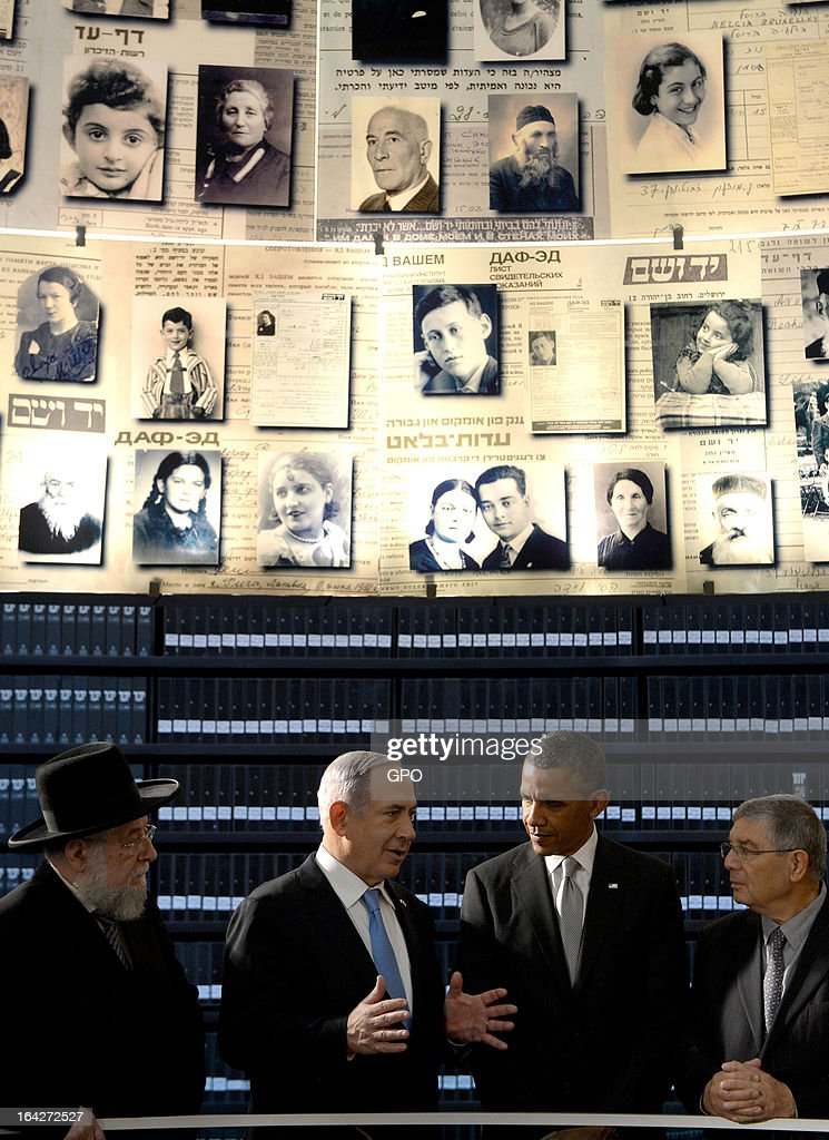In this handout photograph supplied by the Government Press Office of Israel (GPO), U.S. President Barack Obama visits the Hall of Names at the Yad Vashem Holocaust Museum with (L-R) Rabbi Yisrael Meir Lau, Israel's Prime Minster Benjamin Netanyahu and Chairman of the Yad Vashem Directorate Avner Shalev during a visit to Yad Vashem at Mount Herzl on March 22, 2013 in Jerusalem, Israel. This is Obama's first visit as president to the region and his itinerary includes meetings with the Palestinian and Israeli leaders as well as a visit to the Church of the Nativity in Bethlehem.