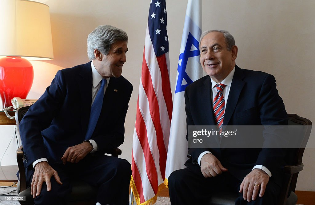 In this handout photograph supplied by the Government Press Office of Israel (GPO), Israel's Prime minister <a gi-track='captionPersonalityLinkClicked' href=/galleries/search?phrase=Benjamin+Netanyahu&family=editorial&specificpeople=118594 ng-click='$event.stopPropagation()'>Benjamin Netanyahu</a> meets with U.S. Secretary of State <a gi-track='captionPersonalityLinkClicked' href=/galleries/search?phrase=John+Kerry&family=editorial&specificpeople=154885 ng-click='$event.stopPropagation()'>John Kerry</a> on April 09, 2013 in Jerusalem, Israel. Secretary Kerry is in the region to meet with Israeli and Palestinian officials in an attempt to help restart the peace process.