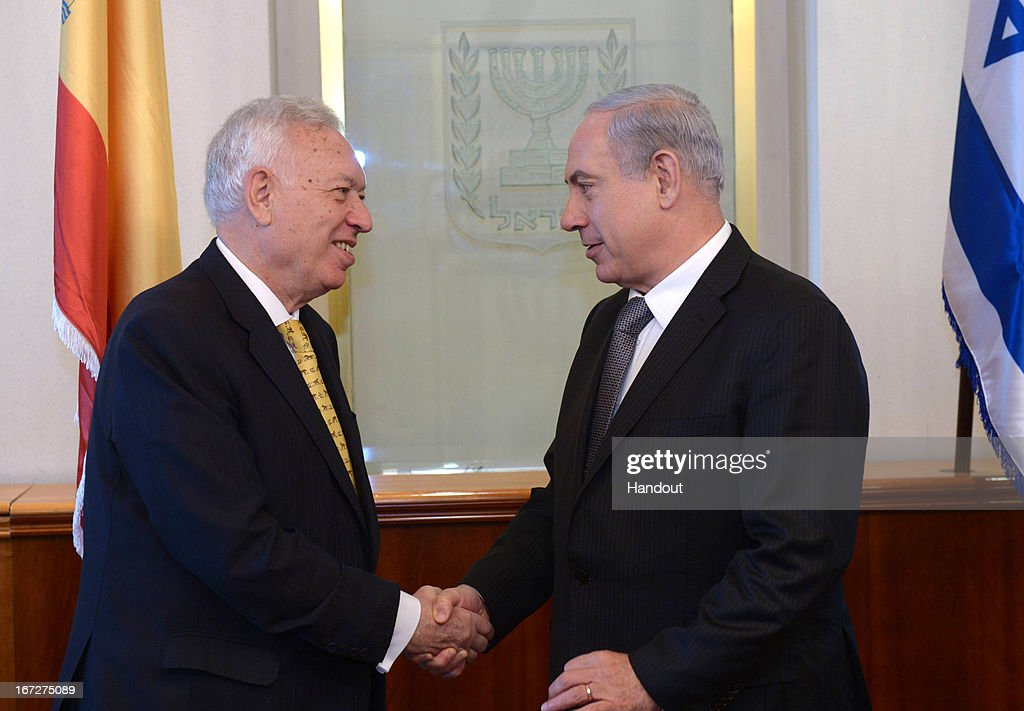 In this handout photograph supplied by the Government Press Office of Israel (GPO) Israeli Prime Minister Benjamin Netanyahu meets with Spanish Foreign Minister Jose Manuel Gracia Magalloy Marfil on April 23, 2013 in Jerusalem, Israel.