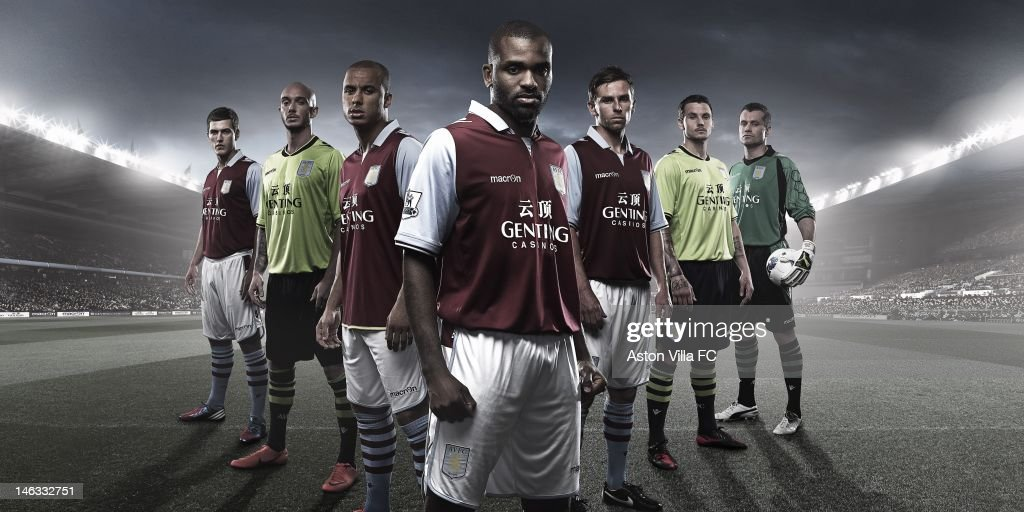 In this handout photographic illustration provided by Aston Villa, Aston Villa are proud to officially unveil their new 2012-13 home and away kits. While the home shirt remains faithful to the classic claret and blue, the away top presents a vibrant lime colour with navy blue details, giving it a playful yet stylish design signifying a bright new era. The kits, featuring a classic Italian style using the latest design technology, contain a number of innovative details. The home strip, inspired by the 1980-81 championship-winning design, is made by integrating different fabrics, each with specific technical and high-performance characteristics. The main fabric has been constructed with a great attention to comfort, performance and effervescence, in order to guarantee maximum comfort and best performance. Macron has always strived to guarantee the highest quality and technical features in its products, with great attention to style trends and details.