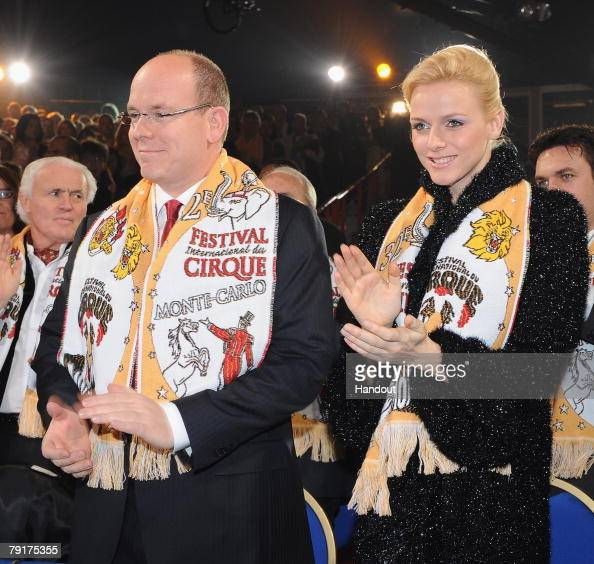 In this Handout picture Prince Albert II of Monaco and Charlene Wittstock attend the closing ceremony of the 32nd International Circus Festival of...