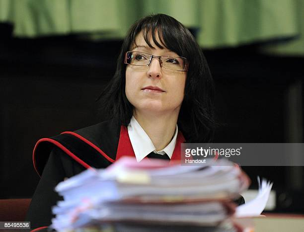 In this handout picture prosecutor Christiane Burkheiser is seen during day four of Josef Fritzl trial at the country court of St Poelten on March 19...