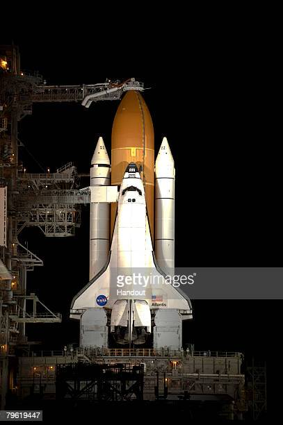 In this handout picture provided by ESA a general view of Atlantis on the launch pad after the Rotating Service Structure retraction on February 7...