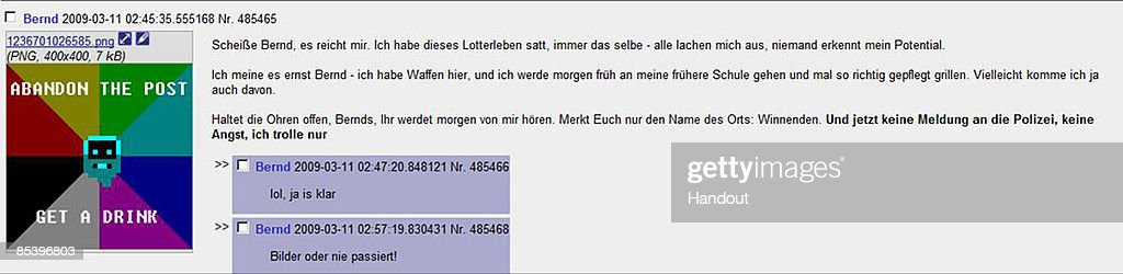In this handout picture provided by the German Police a chat screenshot of a death threat written by Tim Kretschmer is seen on March 12 2009 in...
